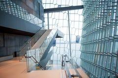 REYKJAVIK ICELAND, SIERPIEŃ, - 27, 2017: Harpa, filharmonia i centrum konferencyjne w Reykjavik, Zdjęcia Royalty Free
