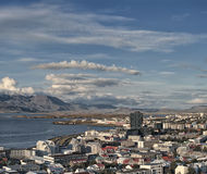 Reykjavik Iceland skyline harbor mountains Royalty Free Stock Photography