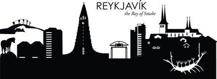 Reykjavik, Iceland. Vector illustration of the skyline cityscape of Reykjavik, Iceland Stock Image