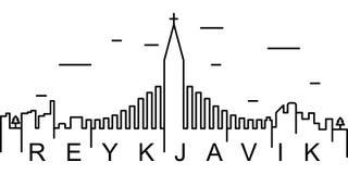 Reykjavik konturu ikona Może używać dla sieci, logo, mobilny app, UI, UX ilustracja wektor