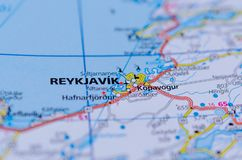 Reykjavik on map. Close up shot of Reykjavik on map, on the coast of Iceland, is the country`s capital and largest city Stock Images