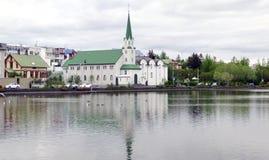 Reykjavik panorama royaltyfri foto