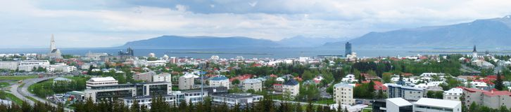 Reykjavik panorama. Very wide aerial panorama view of Reykjavik, capital city of Iceland royalty free stock photography