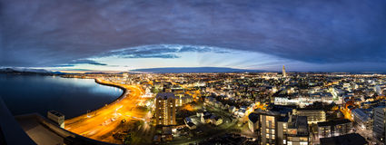 Reykjavik Skylights, Panorama. A panorama of a new dawn in Reykjavik, Iceland Royalty Free Stock Photography