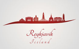 Reykjavik skyline in red. And gray background in editable vector file Royalty Free Stock Photos