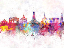 Reykjavik skyline in watercolor background. Colorful Stock Images