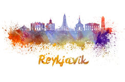 Reykjavik skyline in watercolor. Splatters with clipping path Stock Photography