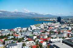 Reykjavik-Stadt, Ansicht von der Spitze Hallgrimskirkja-Kirche, Island Lizenzfreie Stockbilder