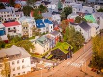 Reykjavik Street Scene from Above Stock Photos