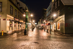 Reykjavik Streets at Night Royalty Free Stock Photo
