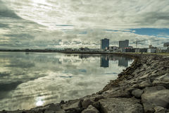 Reykjavik summer. Early morning in Reykjavik, capital of Iceland. Calm morning in July Royalty Free Stock Photo