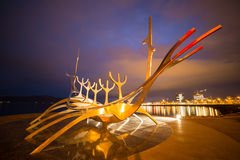Reykjavik. The Sun Voyager sculpture seaside Reykjavik winter holiday  Iceland Royalty Free Stock Photography