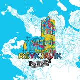 Reykjavik Travel Secrets Art Map. For mapping experts and travel guides. Handmade city logo, typo badge and hand drawn vector image on top are grouped and Royalty Free Stock Photo