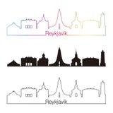 Reykjavik V2 skyline linear style with rainbow. In editable vector file Stock Photos