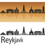 Reykjavik V2 skyline. Reykjavik skyline in orange background in editable vector file Royalty Free Stock Photography