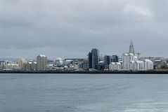 Reykjavik view from the sea. View to Reykjavik city from the sea, Iceland Royalty Free Stock Photos