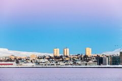 Reykjavik view during sunset on the coast stock photos