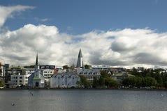 Reykjavik viewed from Tjornin lake. Royalty Free Stock Photos