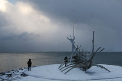 Reykjavik - Viewpoint on the bay. Winter morning on the Bay of Reykjavik, the capital of Iceland. Viewpoint from Solfar (Sun Voyager in Icelandic), sculpture Stock Image