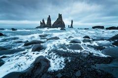 Reynisdrangar cliffs near the Vik town, Iceland Stock Photography