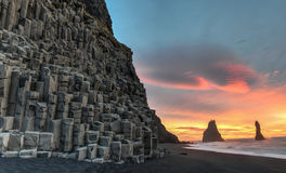Reynisdrangar on Reynisfjara Beach Stock Photography