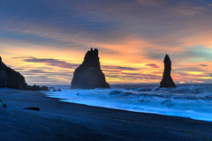 Reynisdrangar on Reynisfjara Beach Royalty Free Stock Photography