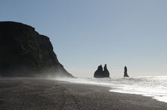 Reynisdrangar rock formations. Near Vik in southern Iceland royalty free stock photos