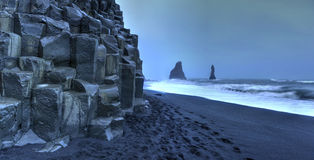 Reynisdrangar rock formations on Reynisfjara Beach Royalty Free Stock Images