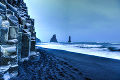 Reynisdrangar rock formations on Reynisfjara Beach Stock Photography