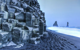Reynisdrangar rock formations on Reynisfjara Beach Stock Photos