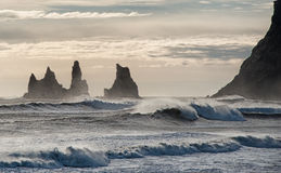 Reynisdrangar Rocks. Stock Photo