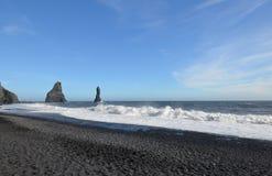 Reynisdrangar Sea Stacks Along the Reynisfjara Beach in Vik Icel Royalty Free Stock Image
