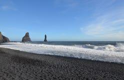 Reynisdrangar Sea Stacks Just Off Reynisfjara Beach in Vik Icela Royalty Free Stock Images