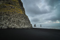 Reynisfjara Beach, Iceland. Reynisfjara Beach in southern Iceland, with an evening storm moving in Royalty Free Stock Photo