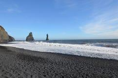 Reynisfjara Beach and Reynisdrangar Sea Stacks in Iceland Royalty Free Stock Images