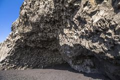 Reynisfjara Beach - small cave with basalt rocks stock images