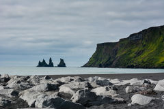 Reynisfjara black sand beach and rocks near  Vik town, Iceland Royalty Free Stock Image