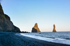 Reynisfjara black sand beach and rocks near  Vik town, Iceland Royalty Free Stock Photography