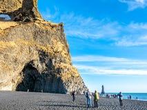 Reynisfjara black sand beach in Vik, Iceland Stock Photos