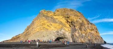 Reynisfjara czerni piasek plażę w Vik, Iceland Zdjęcia Stock