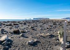 Reynisfjara noircissent la plage de sable dans Vik, Islande Photos libres de droits