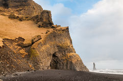 Reynisfjara rock formations at Halsanefhellir Iceland Royalty Free Stock Photos