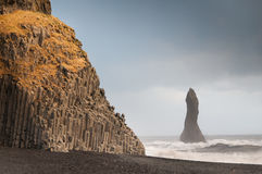 Reynisfjara rock formations at Halsanefhellir Iceland Royalty Free Stock Photo