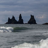 Reynisfjara rocks at south coast of Iceland Royalty Free Stock Images