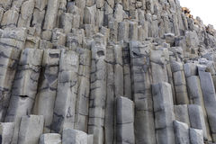 Reynisfjara VIK Iceland. The black sand beach of Reynisfjara basalt column and the mount Reynisfjall from the Dyrholaey promontory, VIK southern coast of Iceland stock photos