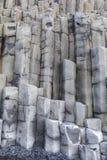 Reynisfjara VIK Iceland. The black sand beach of Reynisfjara basalt column and the mount Reynisfjall from the Dyrholaey promontory, VIK southern coast of Iceland royalty free stock photo