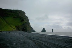 Reynishverfisvegur, Reynisfjara black sand beach Stock Photo