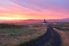 Reyniskirkjakerk, Vik, IJsland Stock Foto's