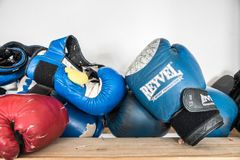 Drohobych, Ukraine - March 03, 2018: Reyvel ond other boxing gloves, for editorial use. Reyvel ond other boxing gloves, sports lifestyle, for editorial use stock images