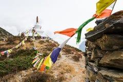 Rezando bandeiras com o stupa no fundo Imagem de Stock